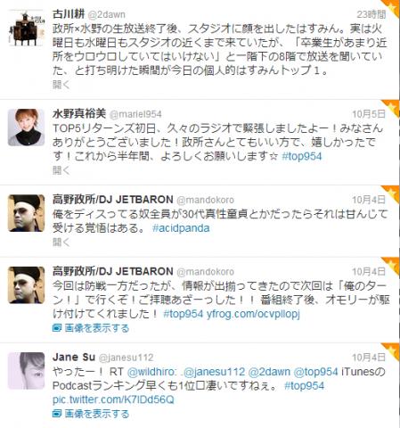 高野政所×水野 真裕美 ザ・トップ5リターンズ水曜日 第一回tweet