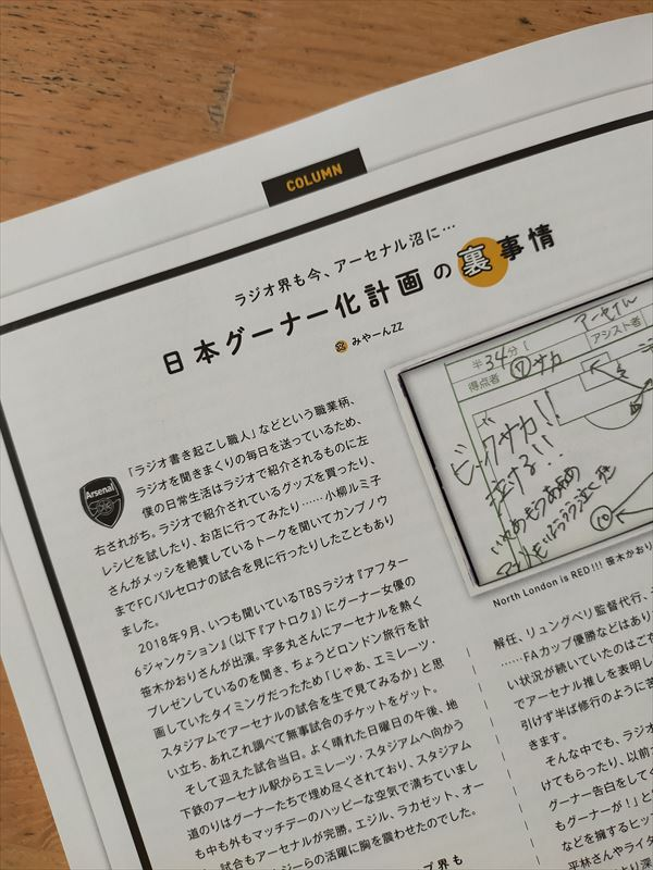 サッカー雑誌『footballista』にみやーんZZアーセナルコラムが掲載されました